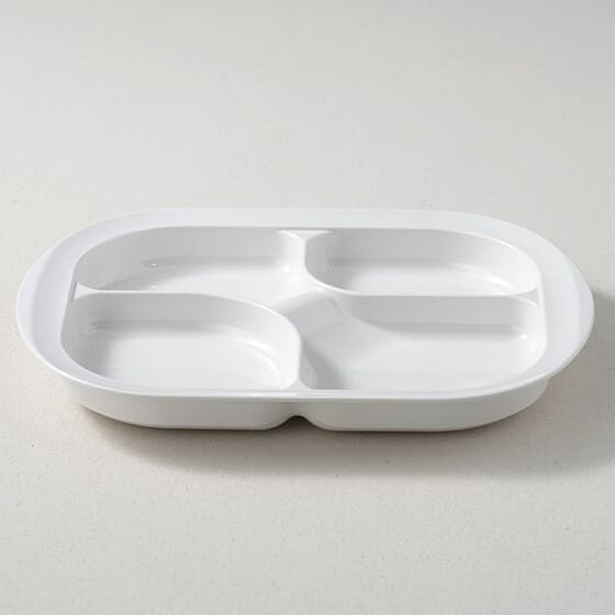 ウィルアシスト メラミン仕切り皿4分割ホワイト 障がい者 使いやすい